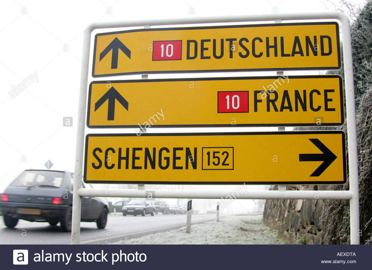 Schilder Deutschland France Schengen Stock Photo
