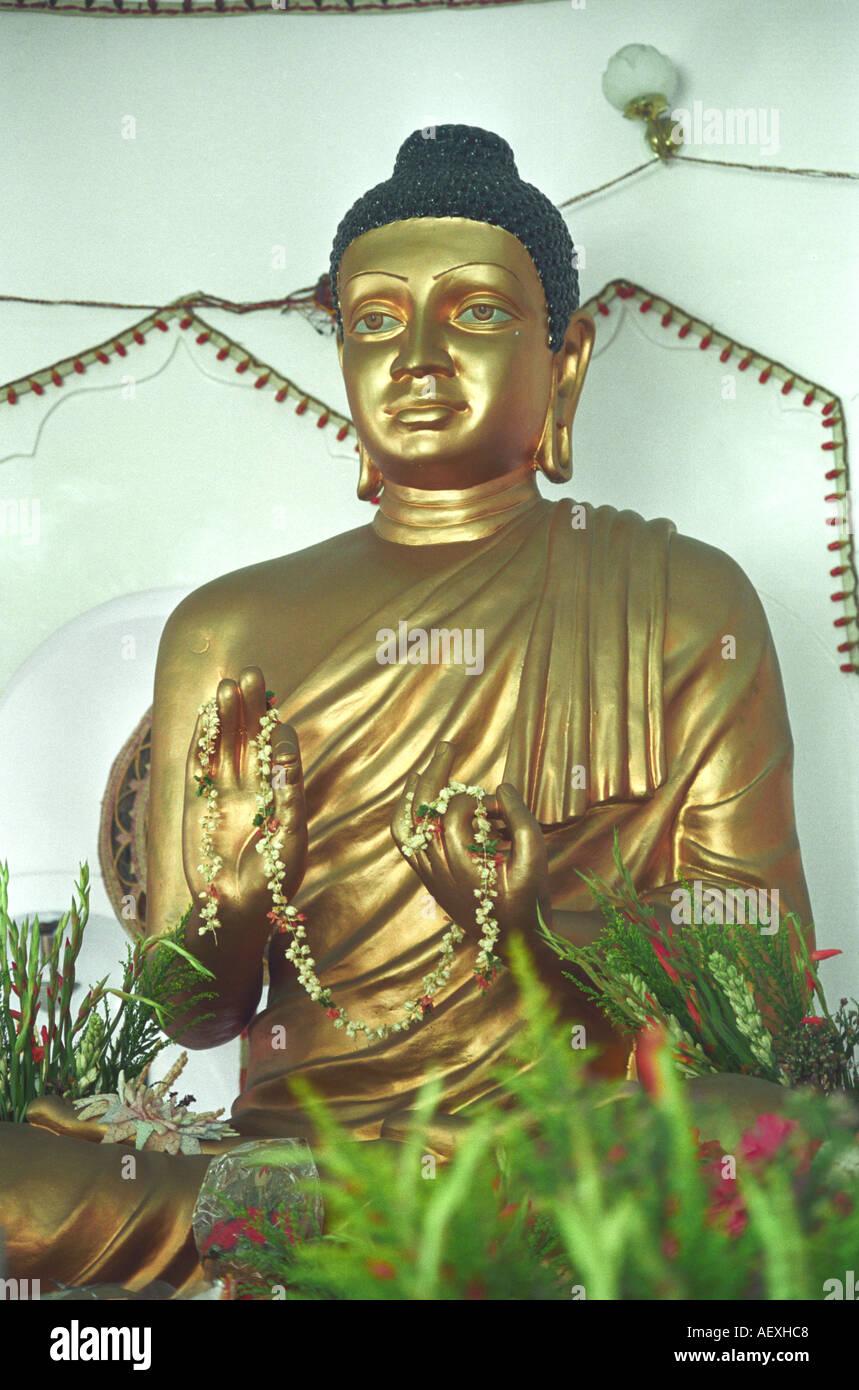 NPP71216 Close up of Lord Buddha at Buddhist temple Buddhism Bombay now Mumbai Maharashtra India - Stock Image