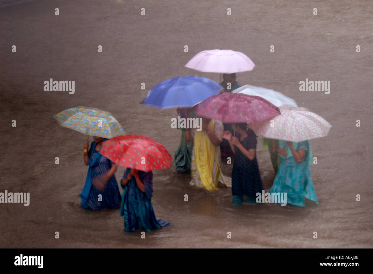 Monsoon world record rain in Kalyan Bombay now Mumbai India - Stock Image
