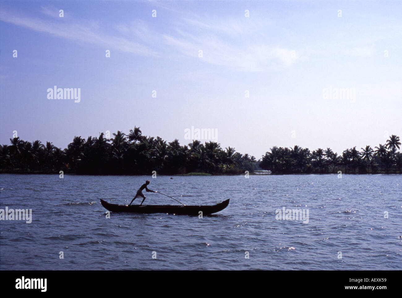 Ancient water transport by traditional rice barge Kerala India - Stock Image