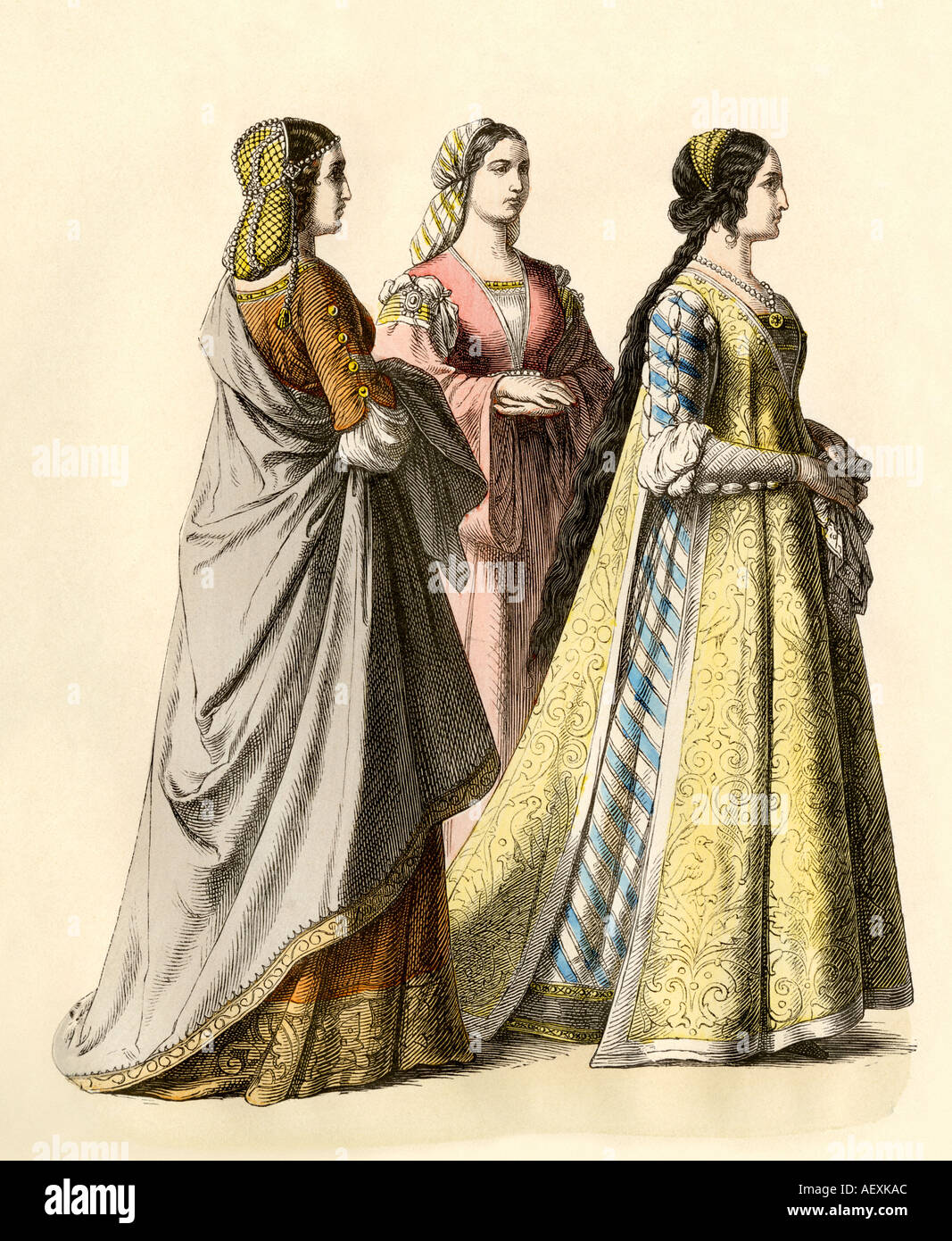 Noble ladies of Florence during the Renaissance or early 1400s. Hand-colored print - Stock Image