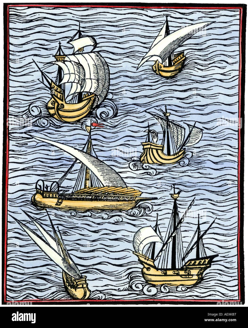 Caravels from Libre de cololat tractat dels fet maritims 1502. Hand-colored woodcut - Stock Image