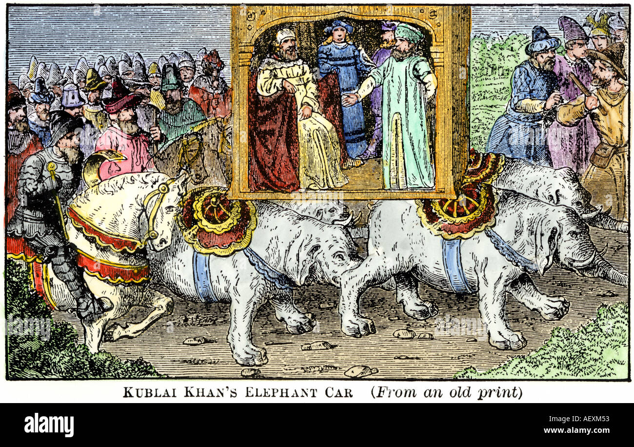 Marco Polo carried in elephant car of Kublai Khan during his visit ...