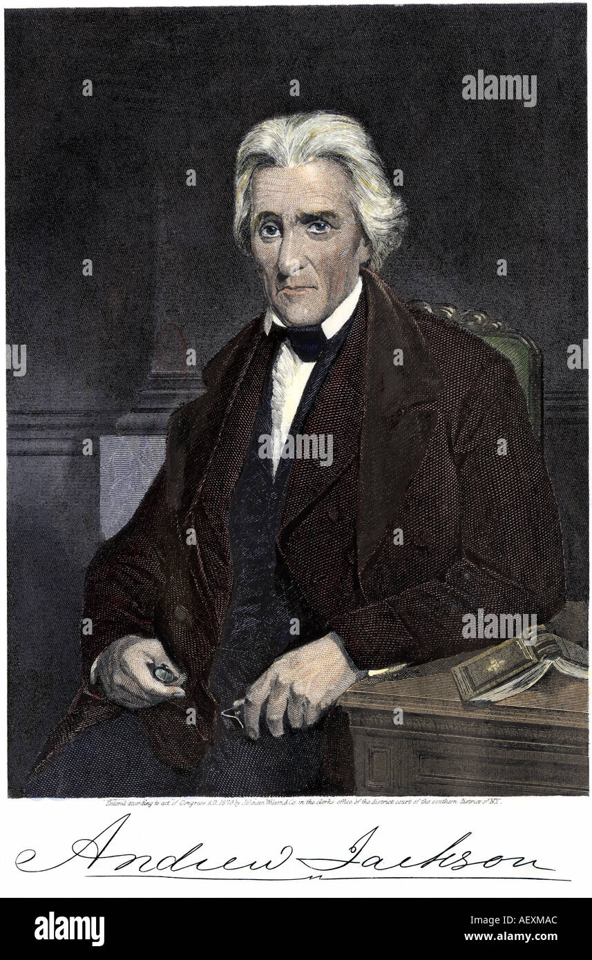 US President Andrew Jackson seated and his signature. Hand-colored engraving - Stock Image