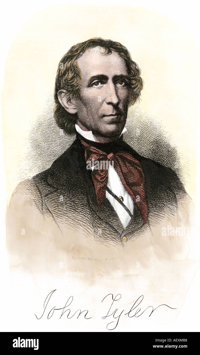US President John Tyler with autograph. Hand-colored woodcut - Stock Image