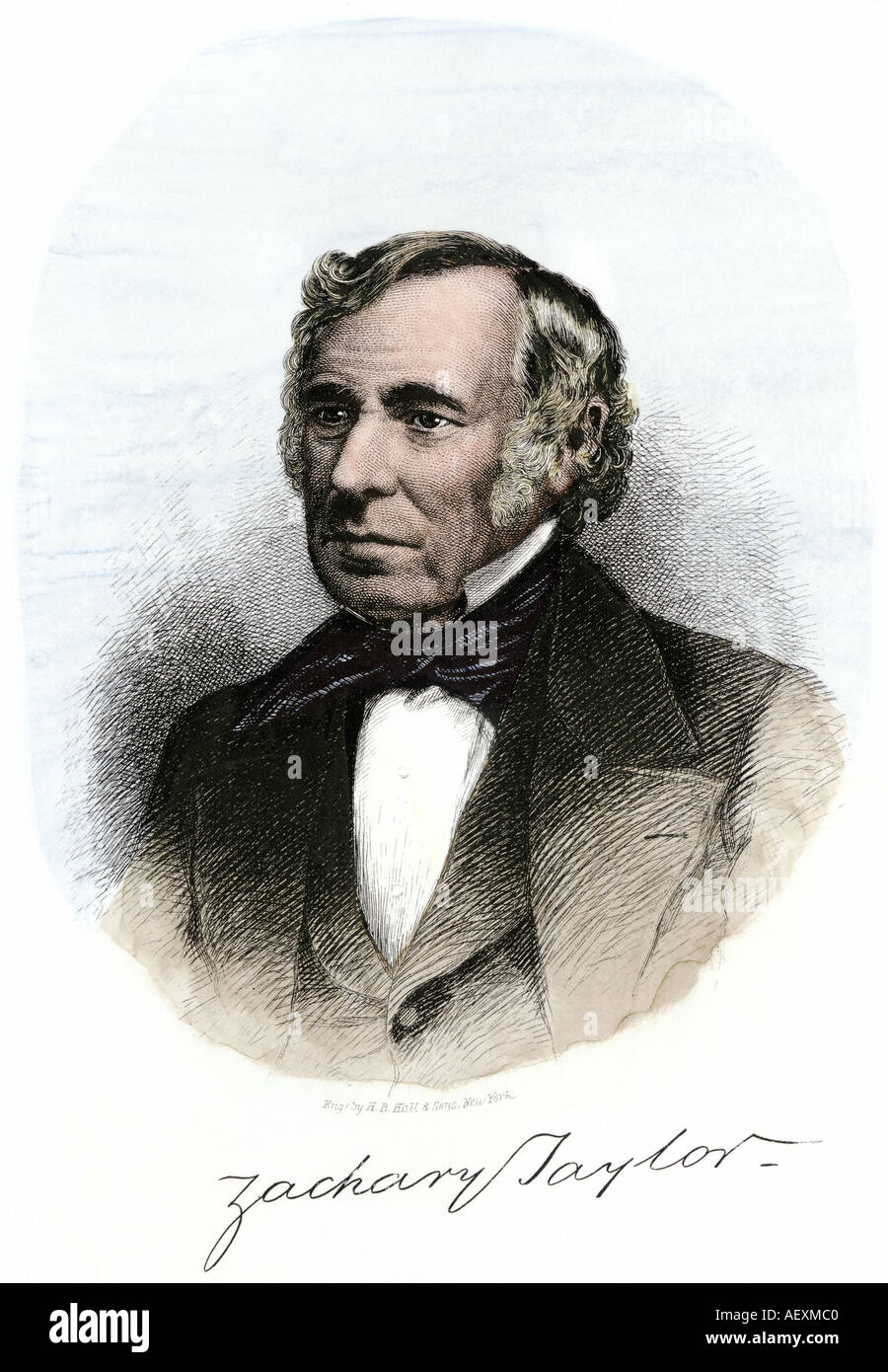 President Zachary Taylor with autograph. Hand-colored woodcut - Stock Image