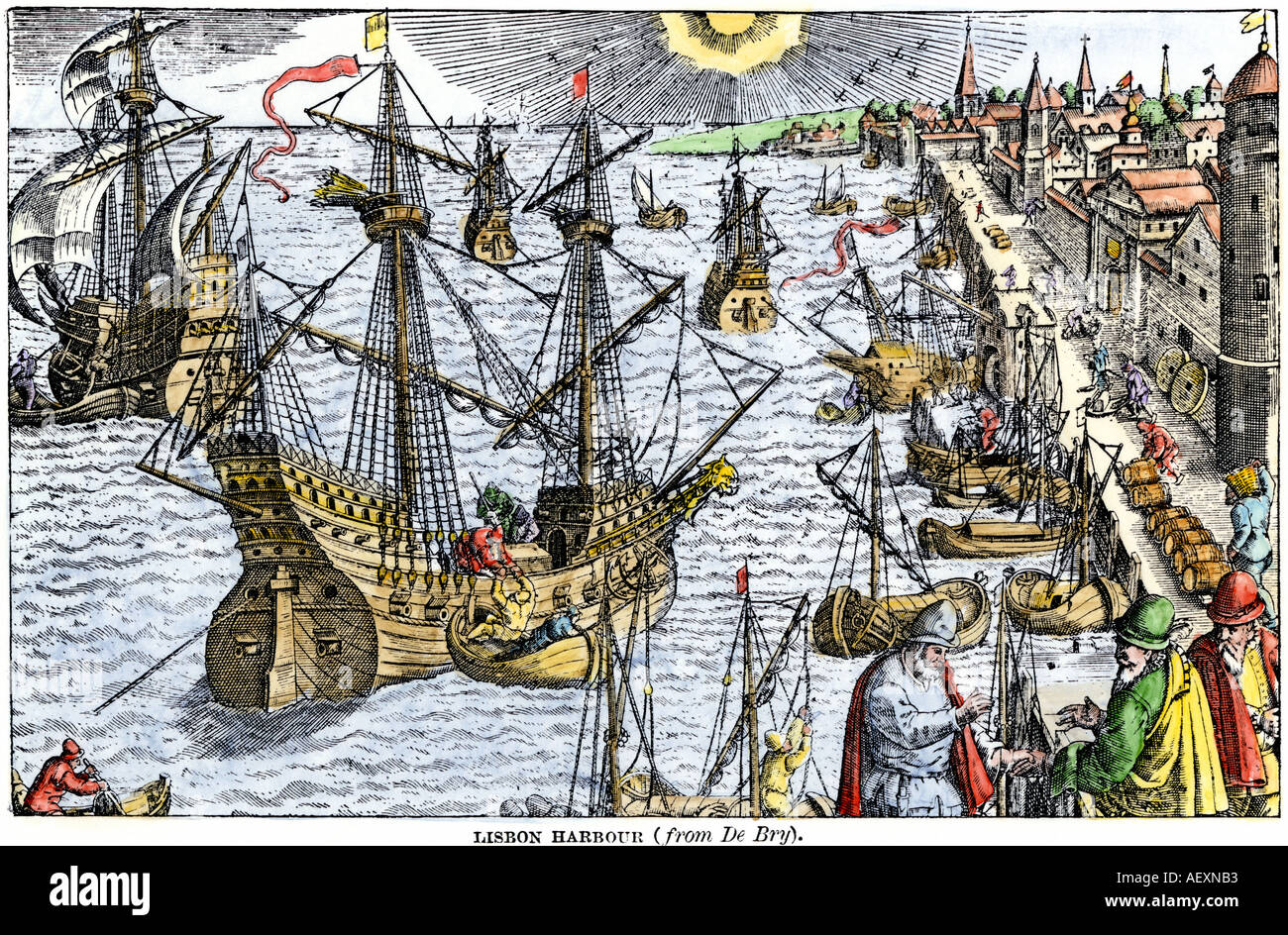 Ships in busy Lisbon harbor circa 1600. Hand-colored woodcut of a Theodore DeBry engraving - Stock Image