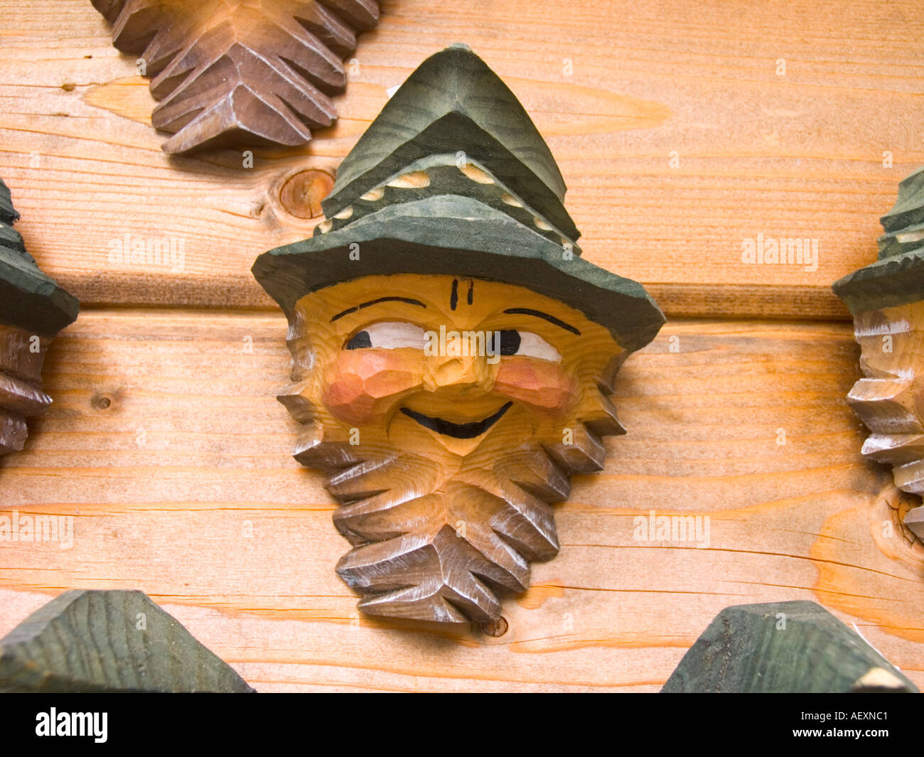 Wood carving wooden face old man elderly mustache mustache