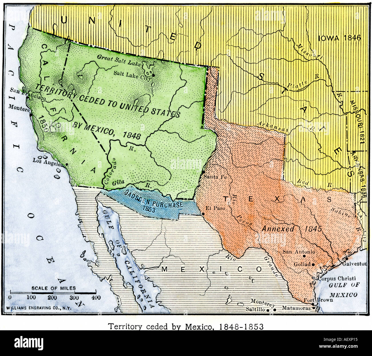 map of the territory ceded by mexico to the us after the mexican american war 1848 to 1853