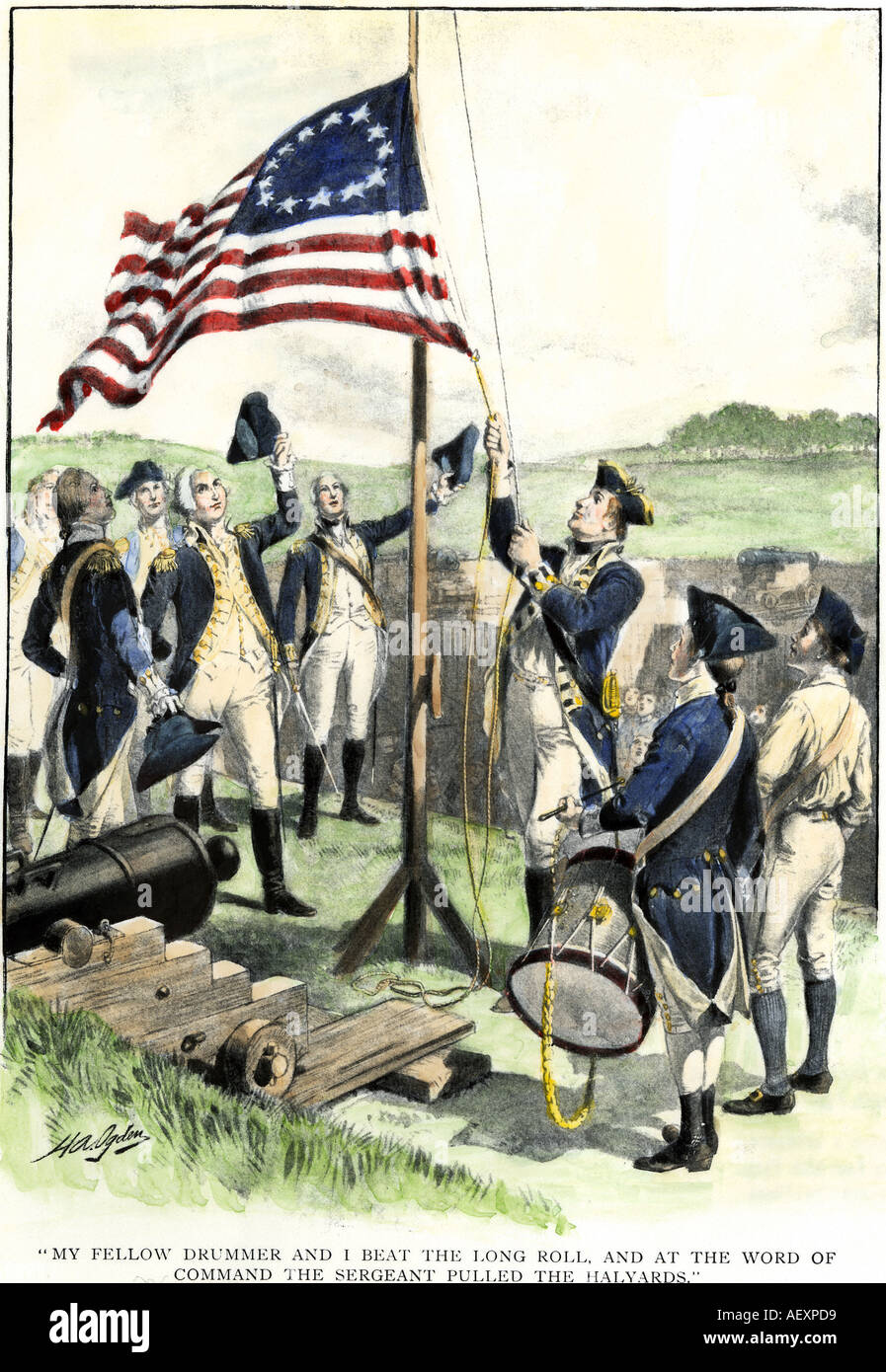 American soldiers hoisting the 13-star flag during the Revolutionary War. Hand-colored halftone of an illustration - Stock Image