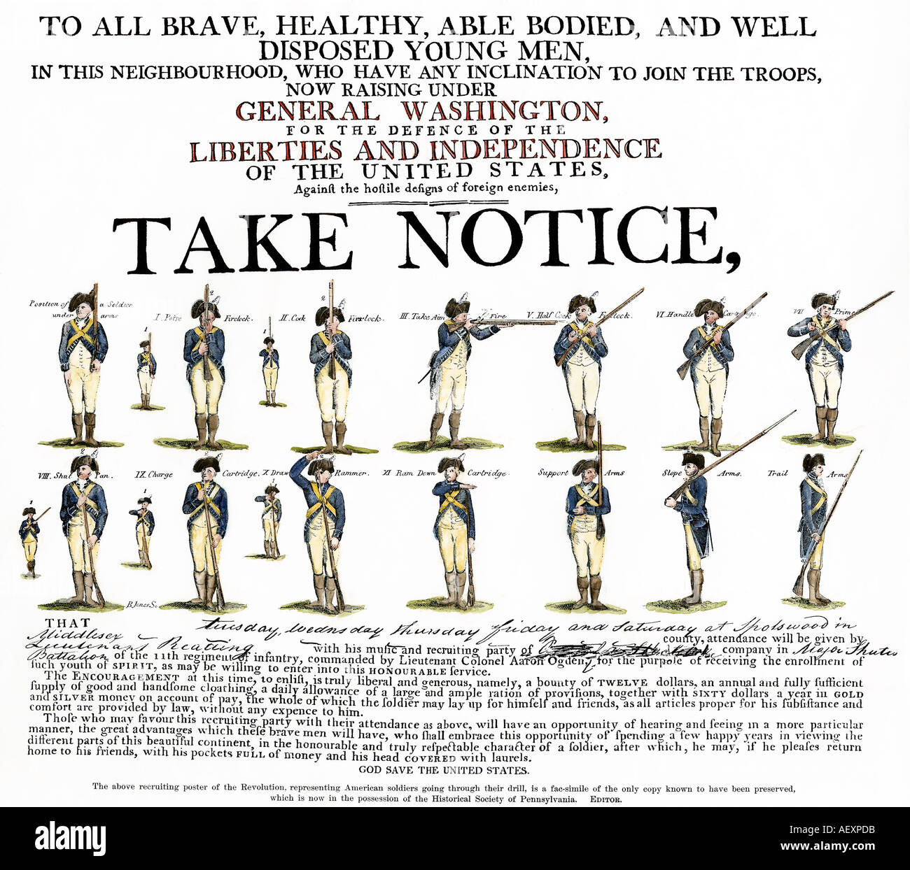 Recruitment poster for Continental soldiers under General George Washington to fight in the American Revolution.. Hand-colored woodcut - Stock Image