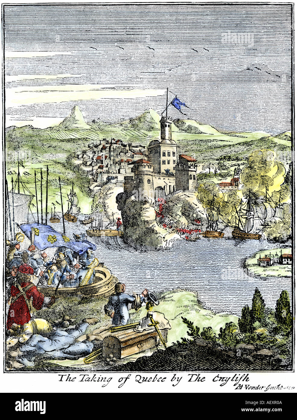 Capture of French Quebec by the English in 1629. Hand-colored woodcut of an illustration from Hennepin - Stock Image