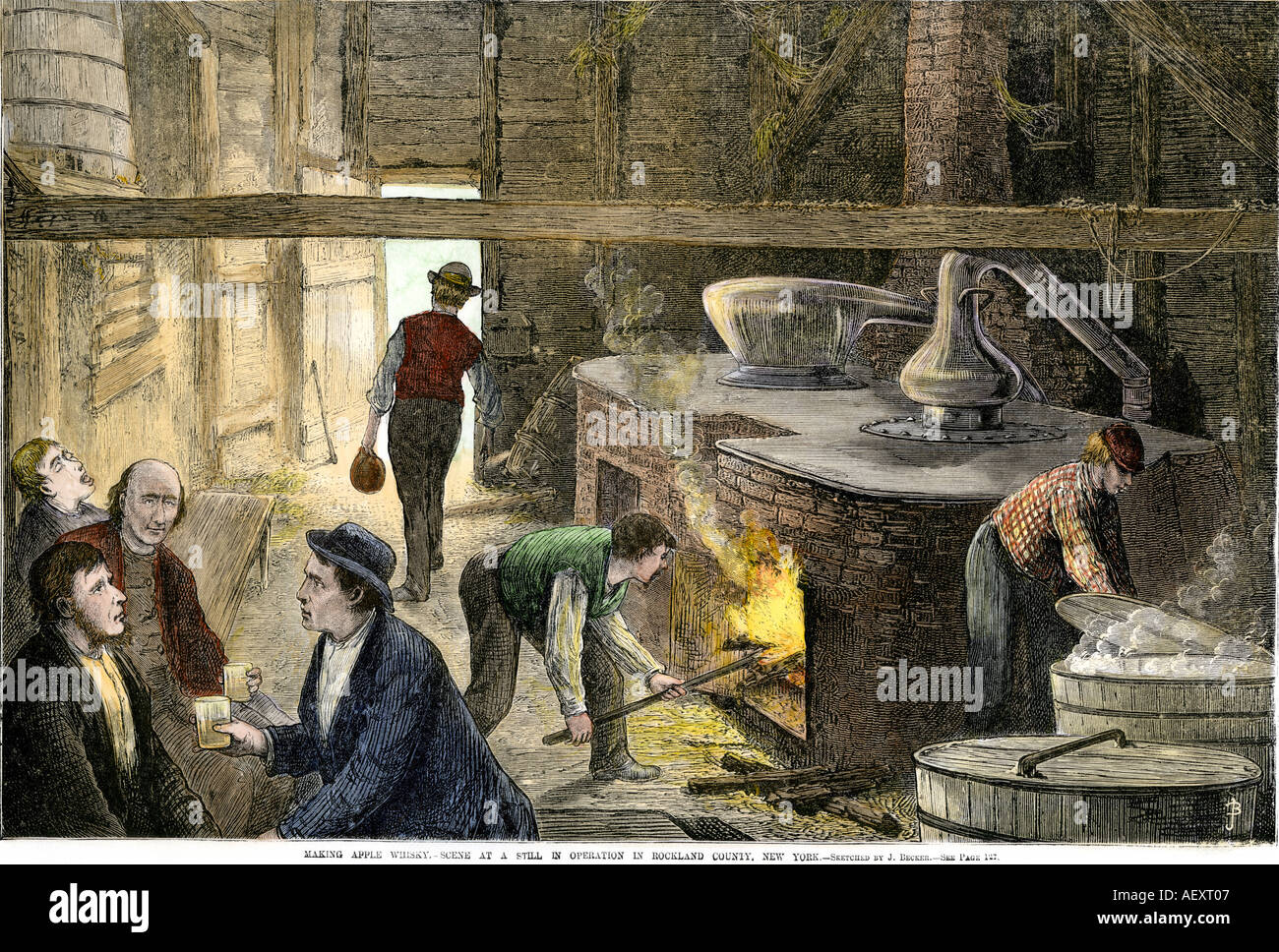Making apple whiskey at a still in Rockland County New York 1870. Hand-colored woodcut - Stock Image