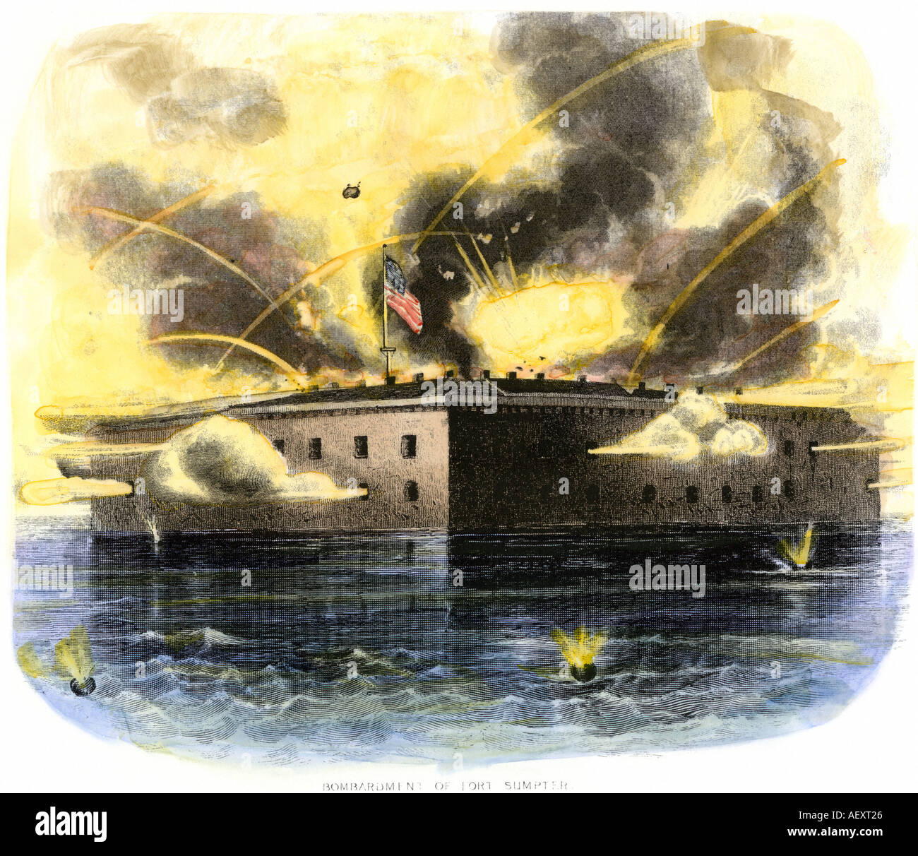 Confederate bombardment of Fort Sumter in Charleston  harbor April 1861. Hand-colored engraving - Stock Image