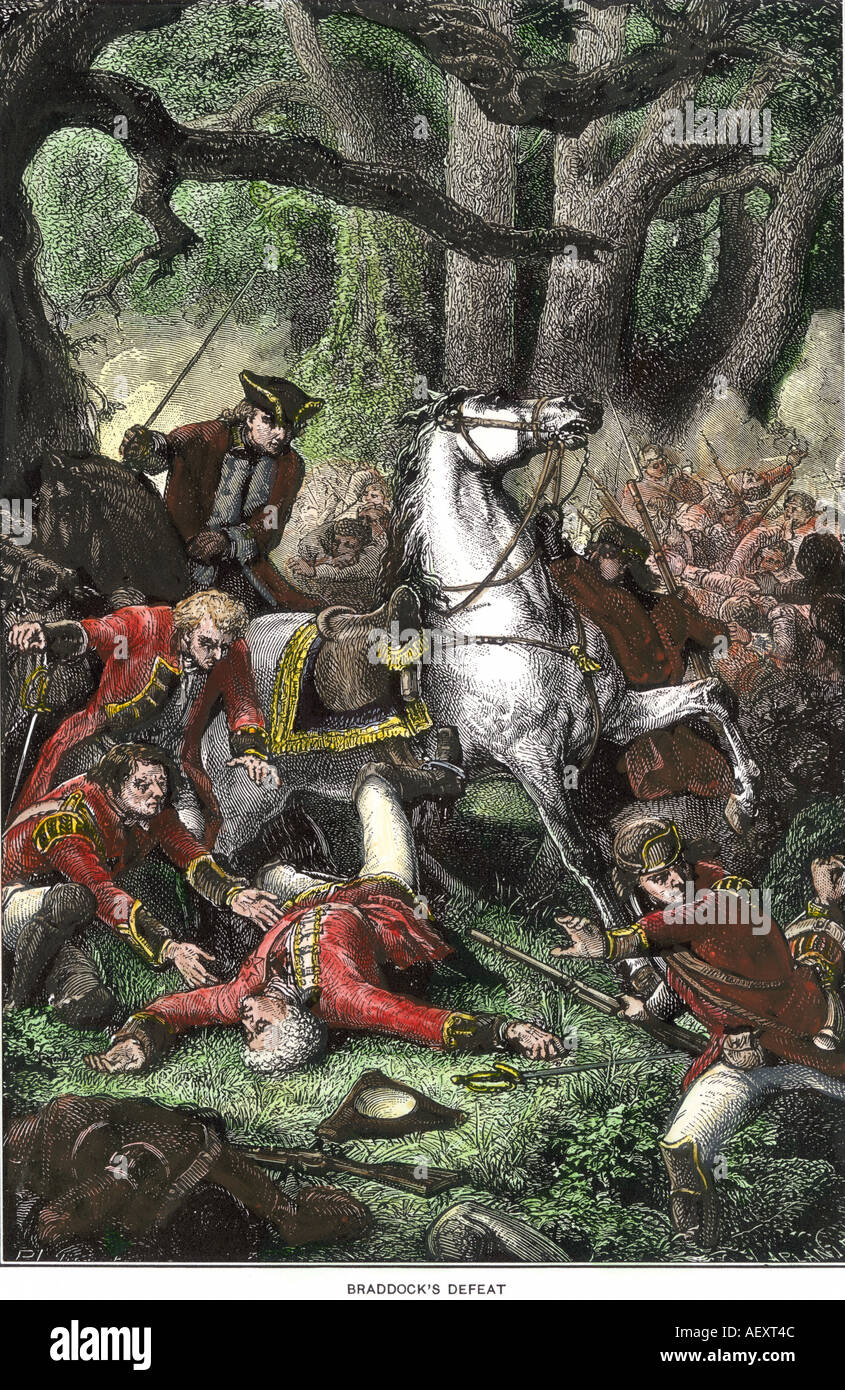 Defeat of British General Edward Braddock en route to Fort Duquesne in the French and Indian War 1755. Hand-colored woodcut - Stock Image