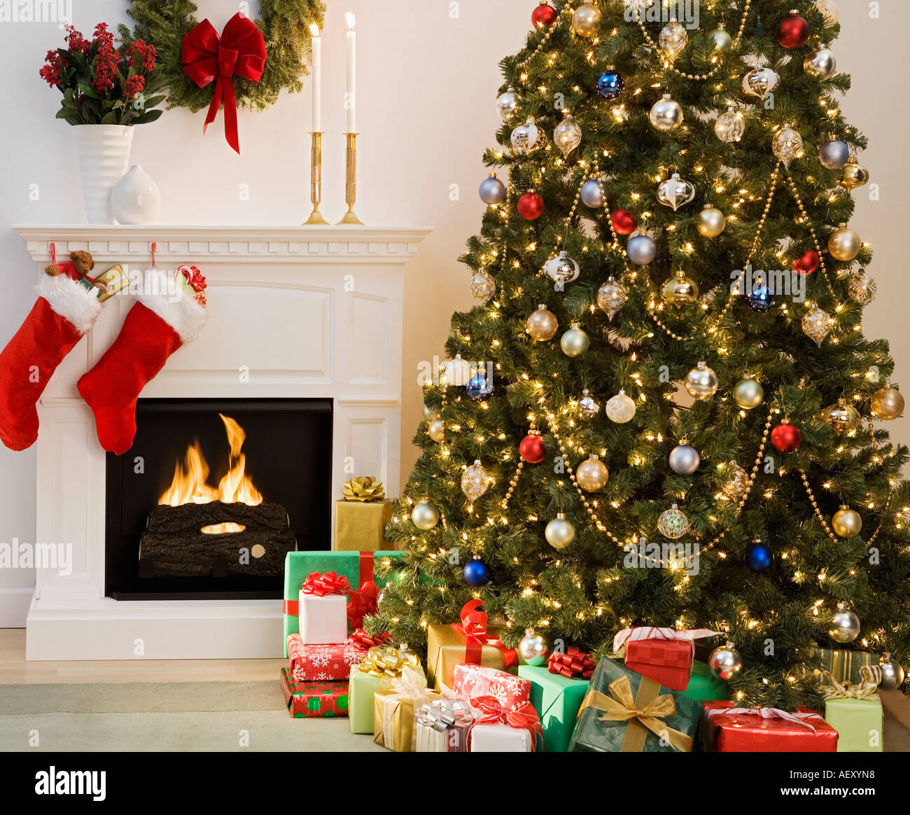 Christmas Tree With Presents And Fireplace With Stockings Stock