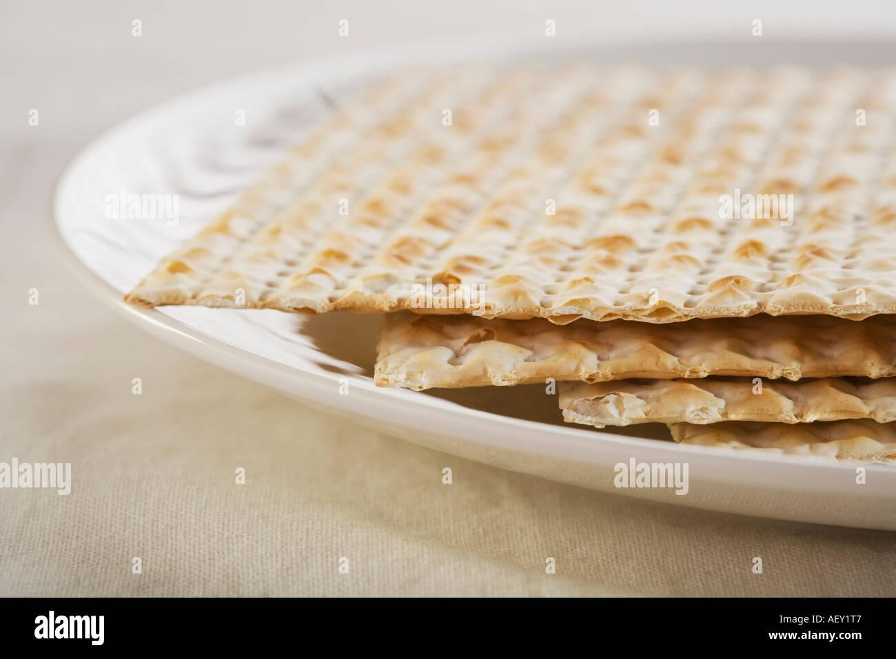 Close up of plate of Matzah - Stock Image