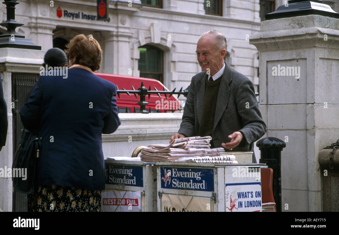 Newspaper Street Vendor London England Stock Photo