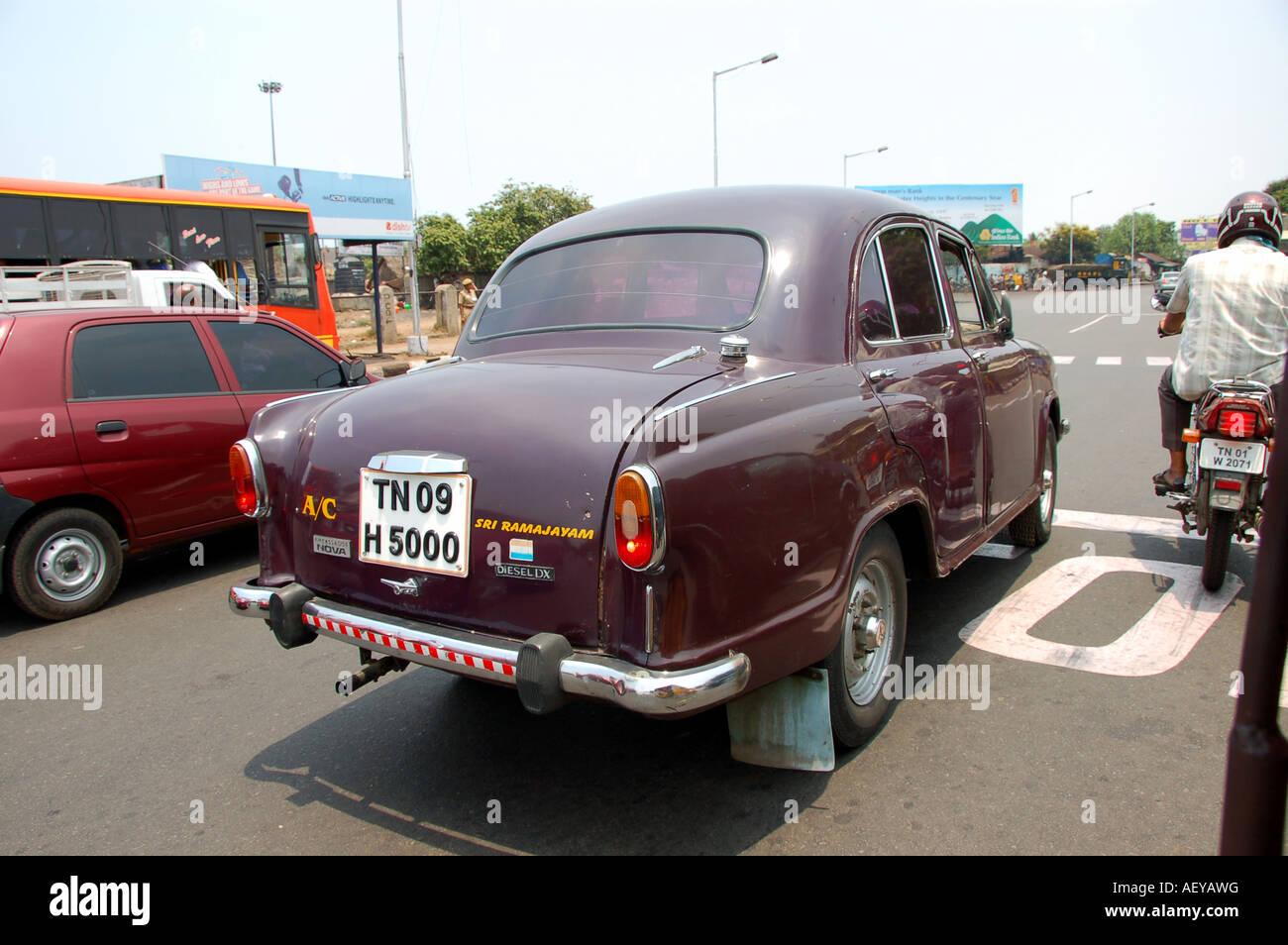 Example of Hindustan Ambassador car in India - Stock Image