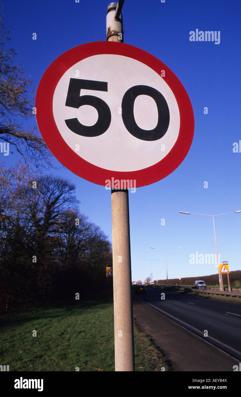50 miles per hour speed limit warning sign on road in leeds yorkshire uk - Stock Image