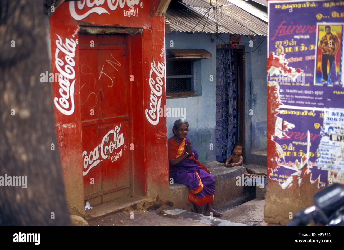 A blind woman extends greetings in Madurai Tamil Nadu India Picture by Andrew Hasson 2002 - Stock Image