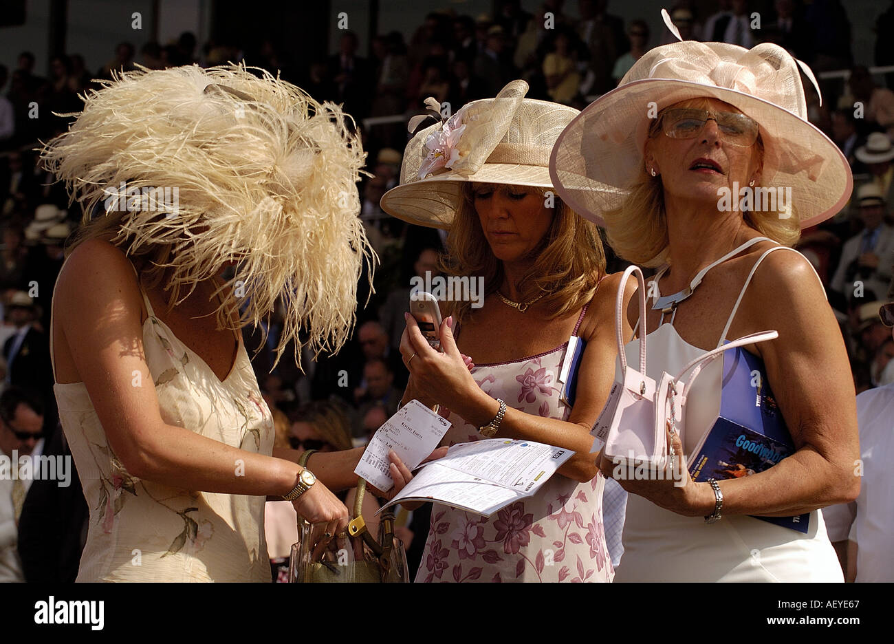 Racegoers at Glorious Goodwood in West Sussex England Picture by Andrew Hasson July 30th 2004 - Stock Image