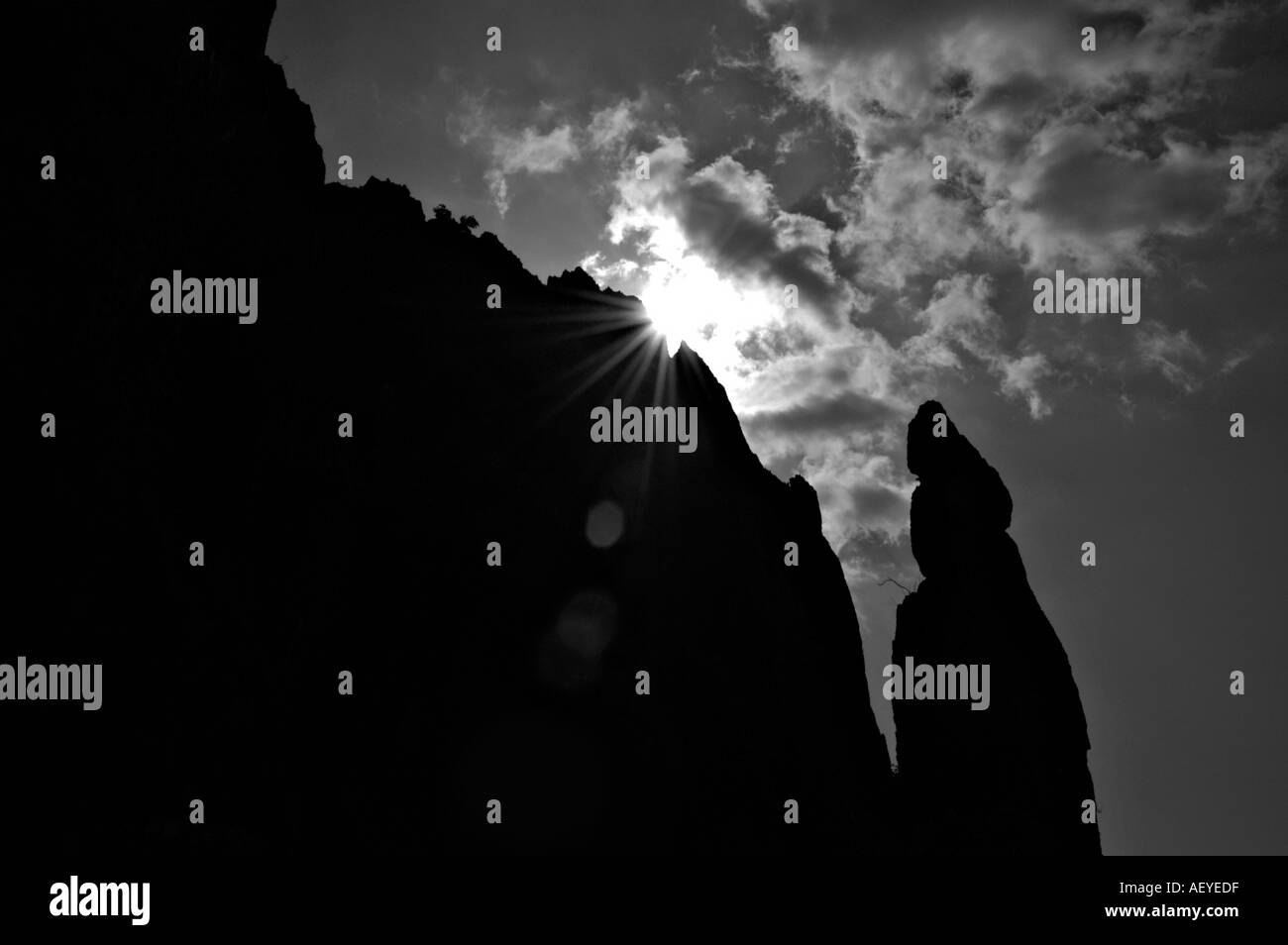 Silhouette of monolith in Stone Forest China - Stock Image