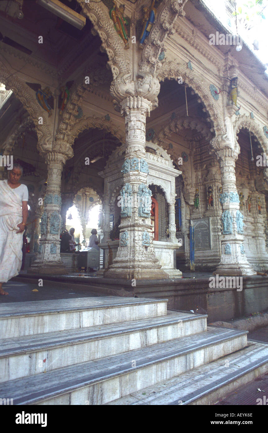 architectural pillars of Lord Shiva Babulnath Hindu temple Mumbai Maharashtra India - Stock Image
