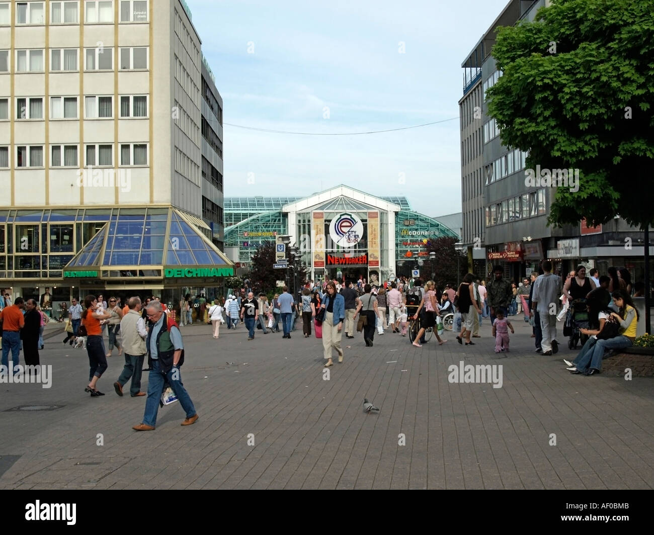 entrance to the vitreous passage of the shopping centre center City Center in the pedestrials area of the town Essen - Stock Image