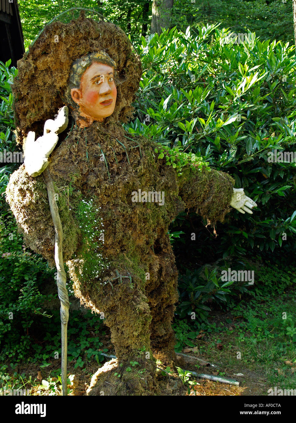 fable figure created made of moss in the flower park Mozirski Gaj in the town Mozirje in the in the valley of the river Savinja - Stock Image