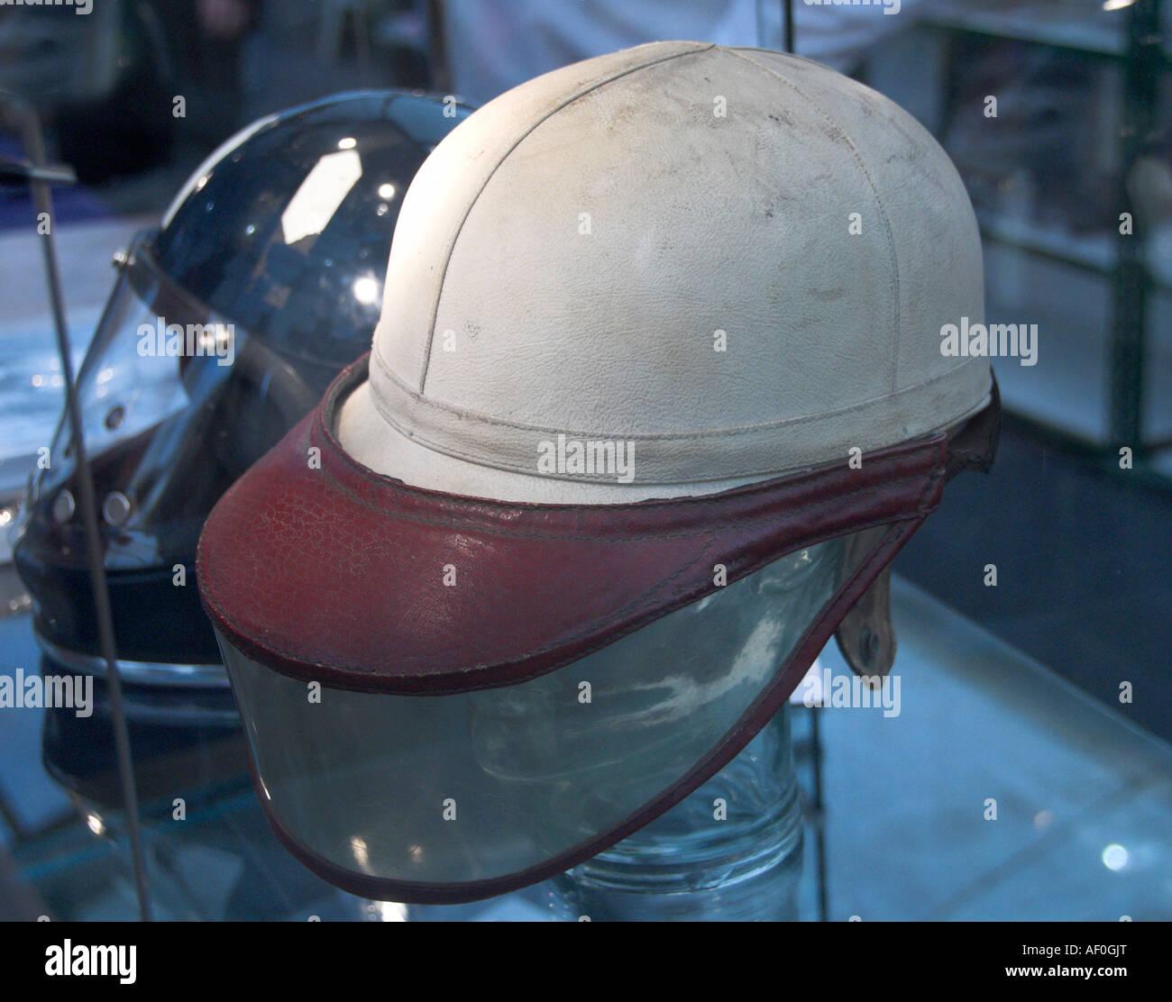 pre war racing crash helmet For Sale at Bonhams auction Goodwood 2007 - Stock Image
