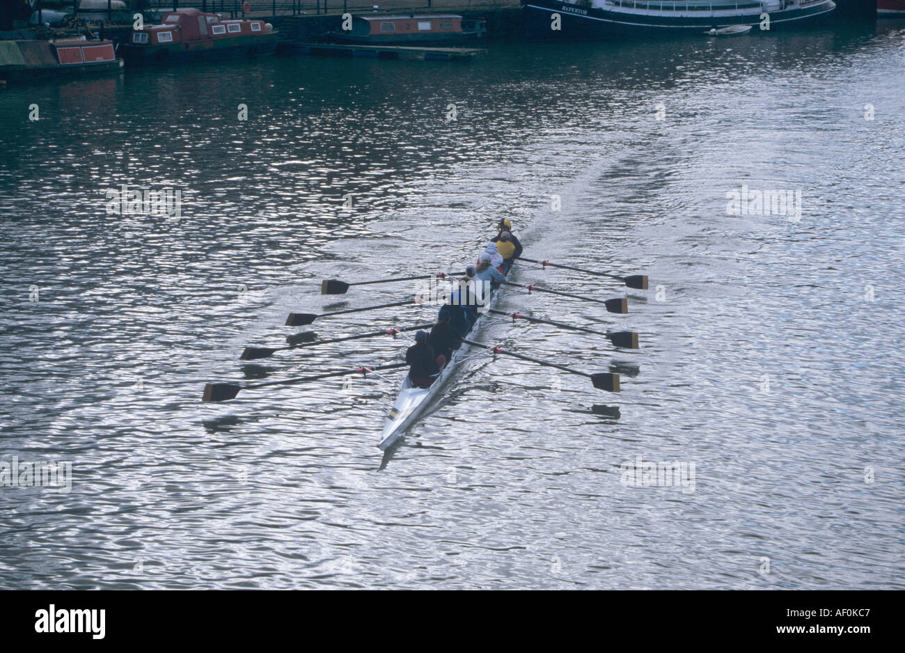 Rower's team rowing down the Avon river Bristol - Stock Image