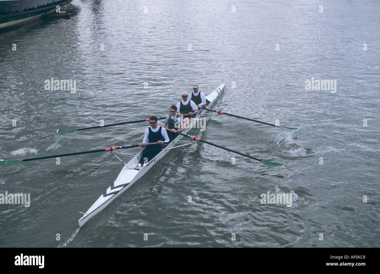 Four man rowing team on the Avon river Bristol - Stock Image