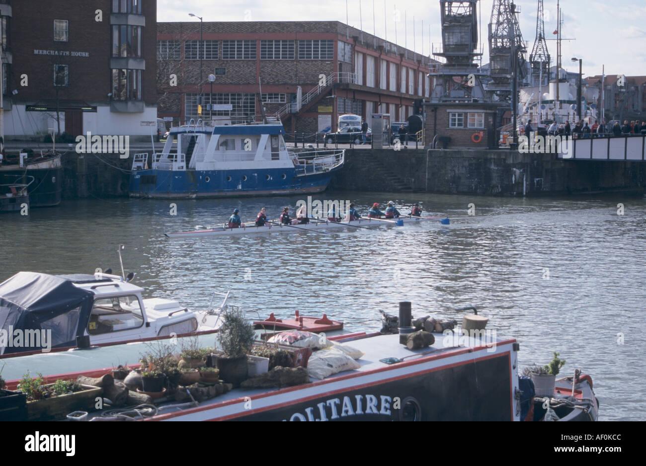Rowing team on the river Avon Bristol - Stock Image