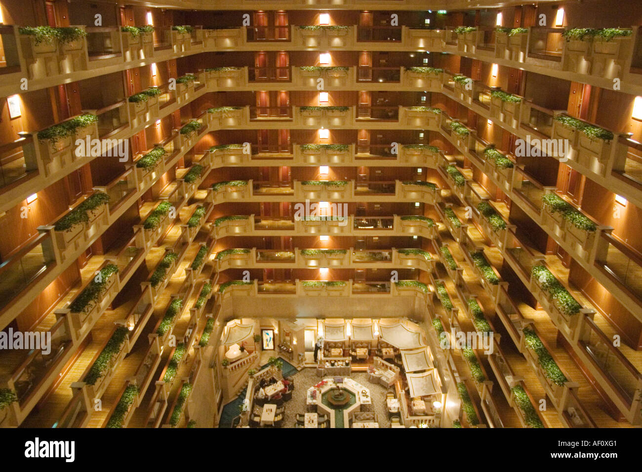 Interior Balconies In The Atrium At Hong Kong S Famous Royal Garden Hotel.