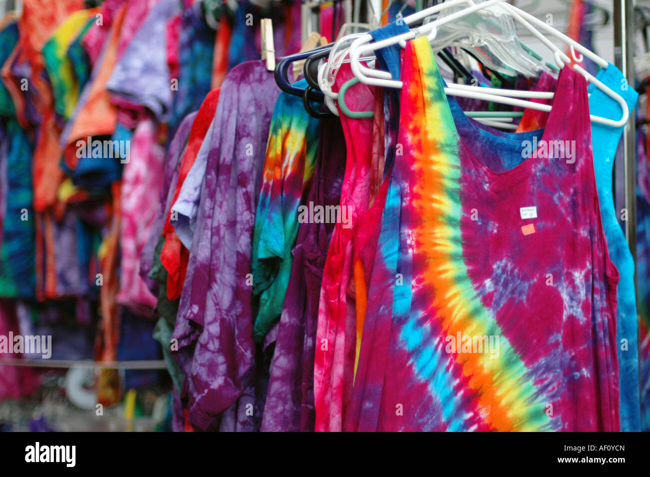 1b6e4300442 Tie-dye shirts on sale at a fair Stock Photo  13795076 - Alamy