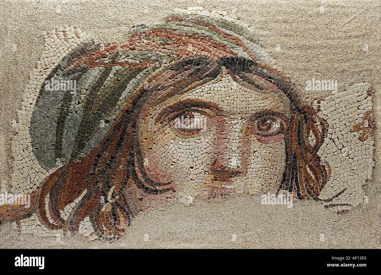 The Gypsy Girl , Zeugma Mosaics , Gaziantep Museum Turkey - Stock Image
