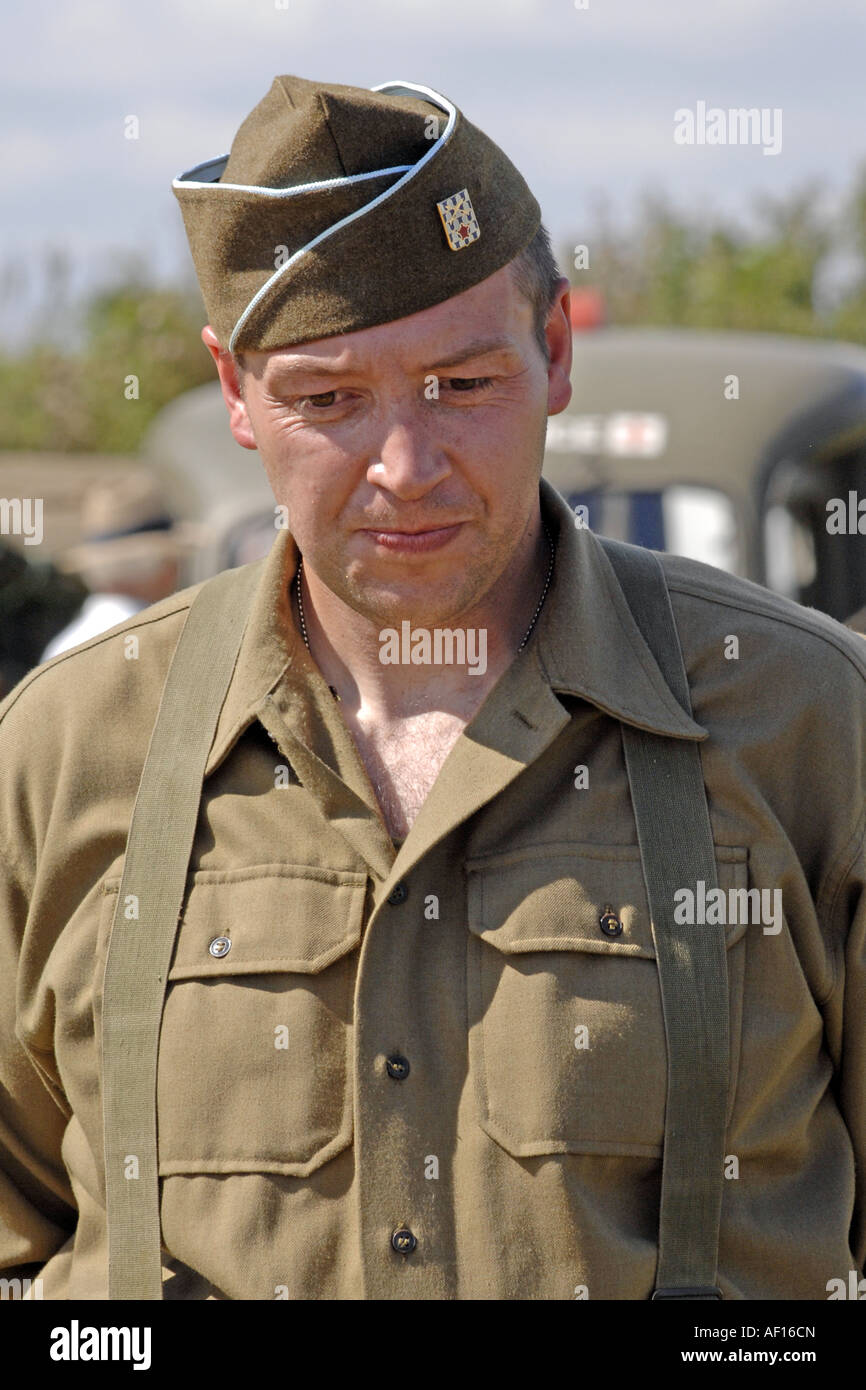 Portrait of a man dressed in the uniform of a GI in the 1st USArmy Infantry of WW2 - Stock Image