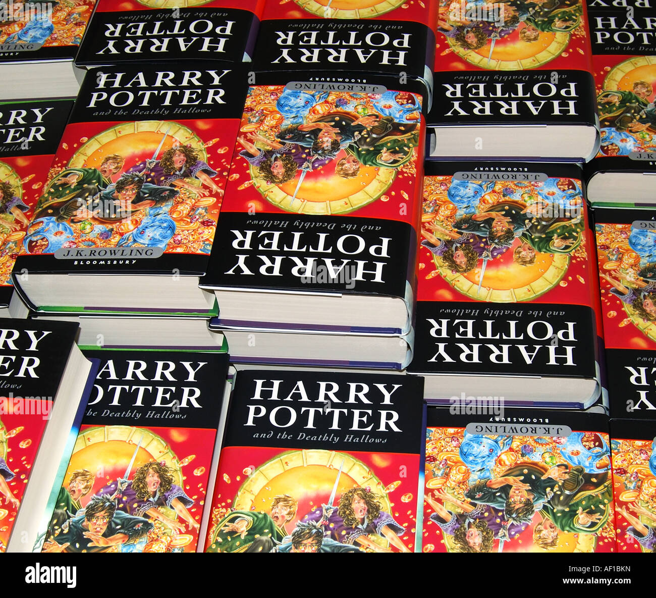 Pile of new Harry Potter books, W.H.Smith, Staines-upon-Thames, Surrey, England, United Kingdom - Stock Image