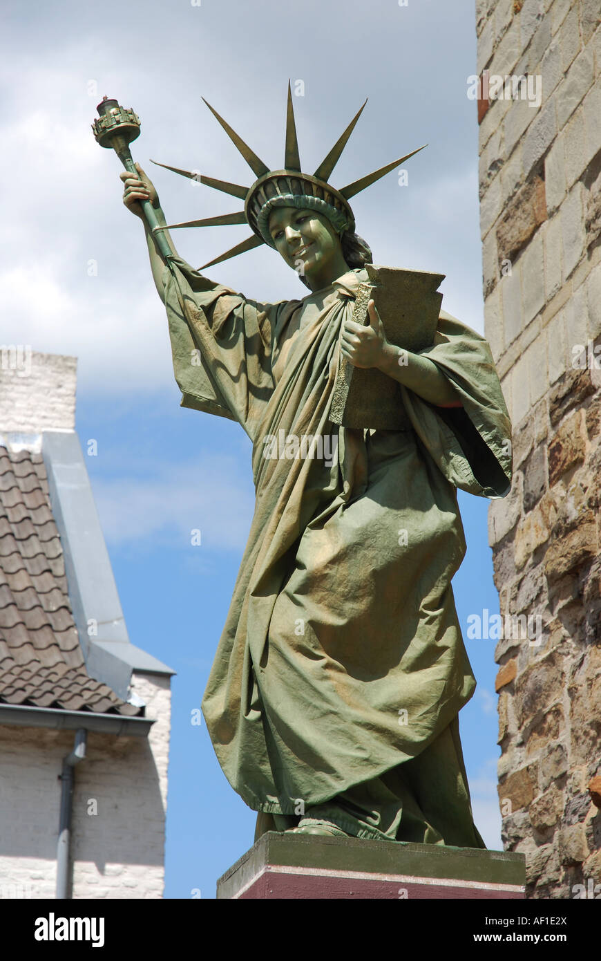 Full Frame Portrait Of Living Statue Of Liberty Thorn Limburg Stock