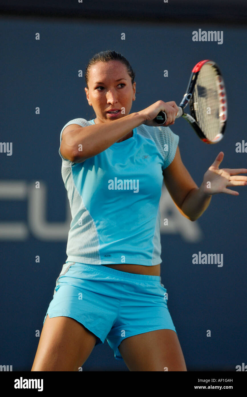 Serbian WTA tennis star Jelena Jankovic strokes a forehand at the 2007 Acura Classic tennis tournament, La Costa - Stock Image