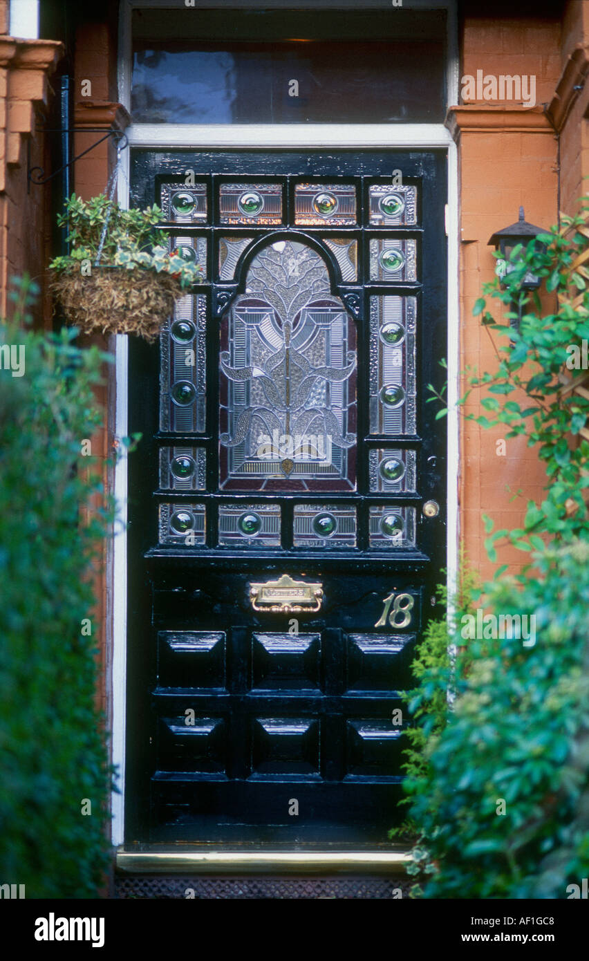 Stained Glass Black Front Door British Housing London Stock Photo