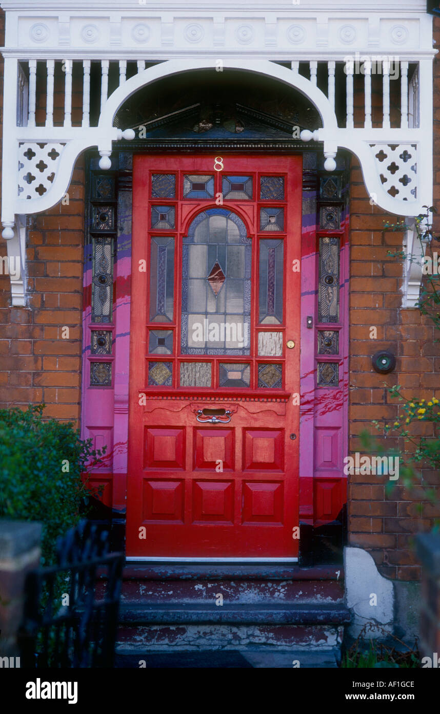 Red Front Door Glass Stain Stock Photos Red Front Door Glass Stain