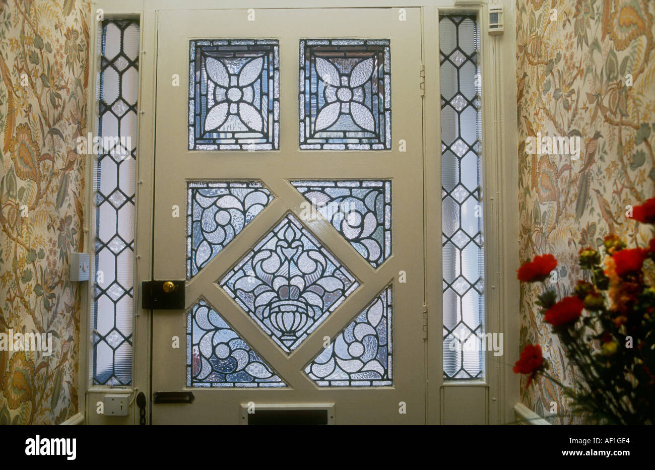 Decorative Edwardian Stained Glass front door taken from interior looking out British Housing London & Decorative Edwardian Stained Glass front door taken from interior ...