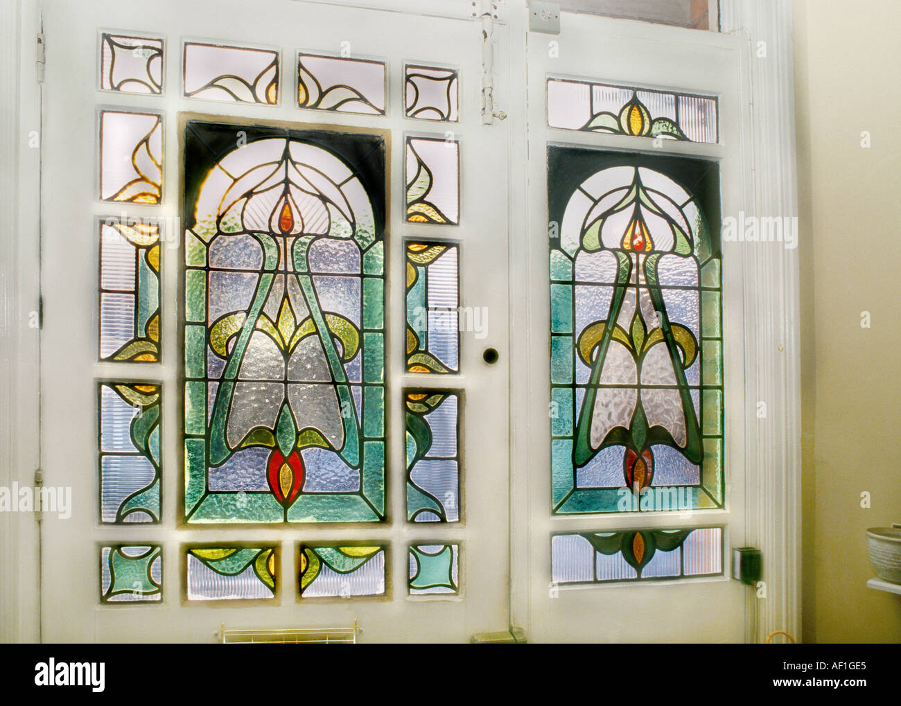 Decorative edwardian stained glass front door taken from for Decorative window film stained glass victorian