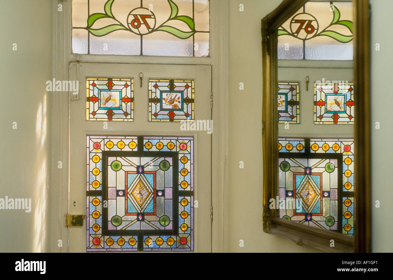 Decorative Victorian Stained Glass Front Door Taken From Interior Looking Out British Housing London Stock