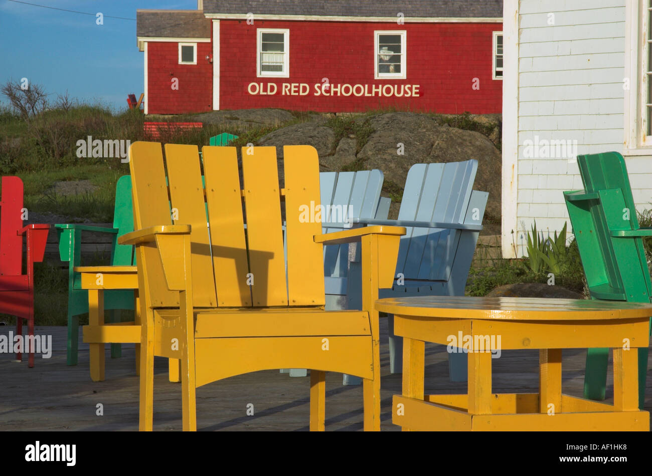 brightly painted furniture. Brightly Painted Wooden Chairs Outside A Cafe In Beggys Cove Nova Scotia Furniture