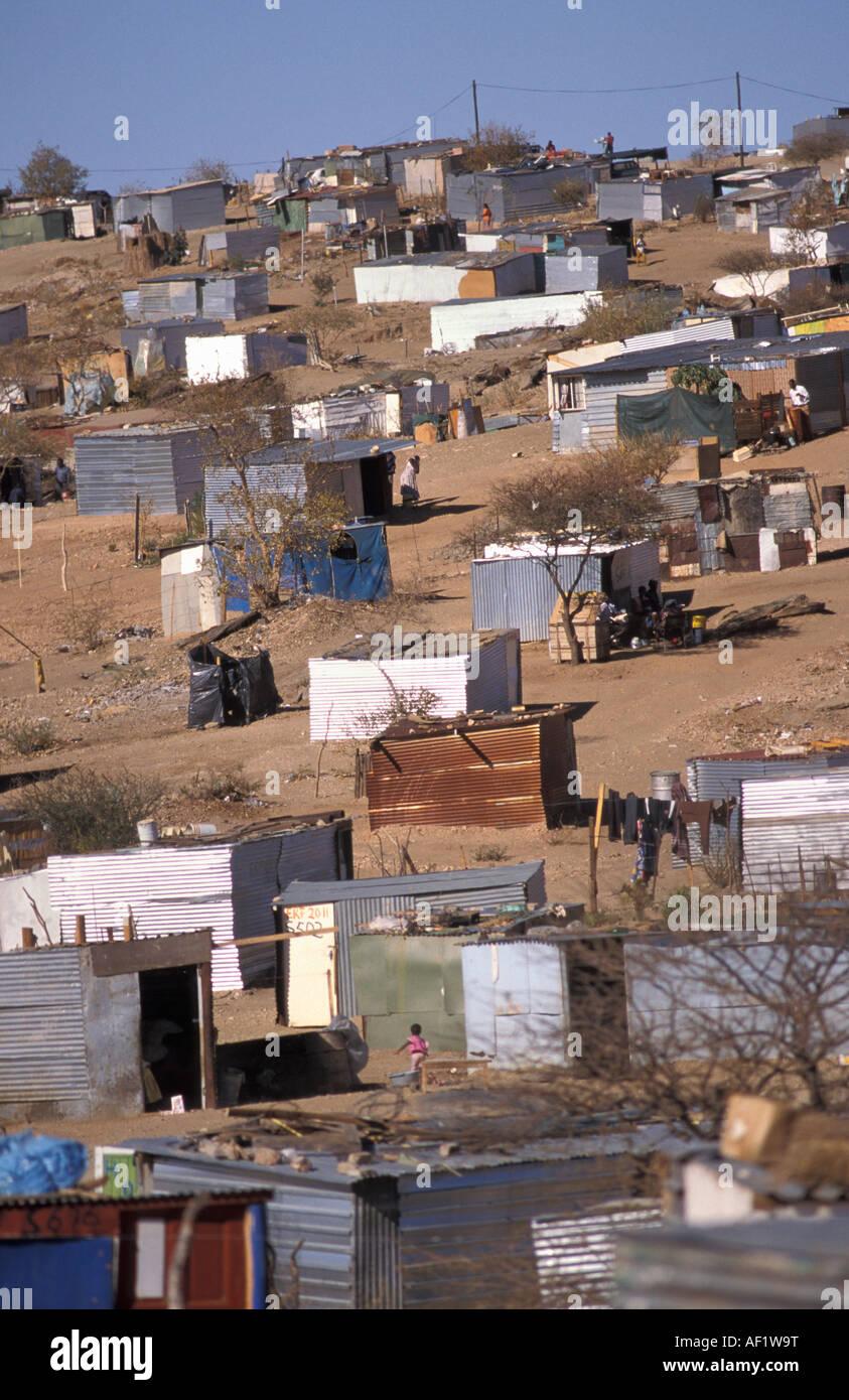 Namibia Windhoek. Township Goreangab. Houses of corrugated iron - Stock Image