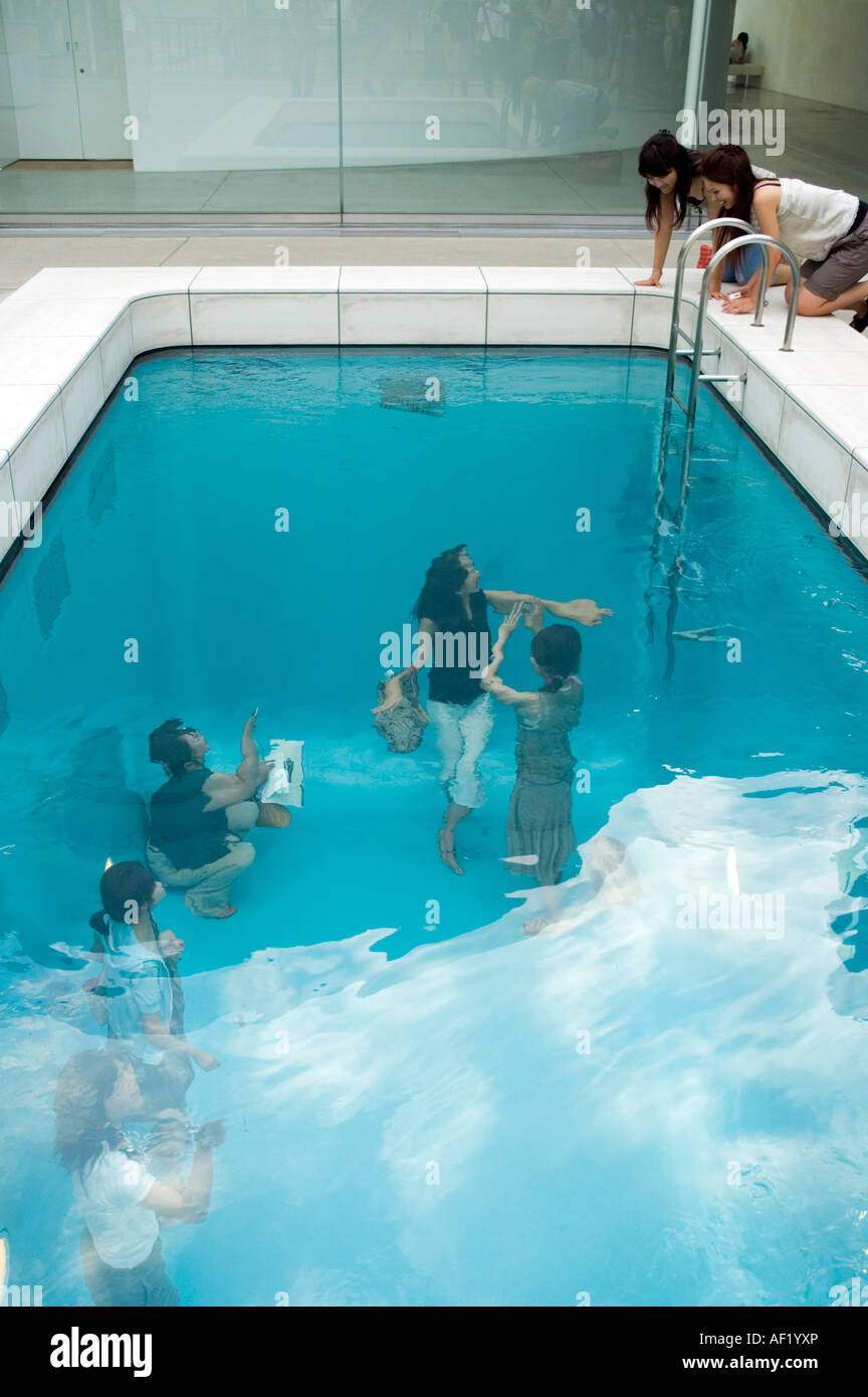 'Swimming Pool' by Argentinian artist Leandro Erlich at the 21st Century Museum of Conteporary Art, Kanazawa, - Stock Image