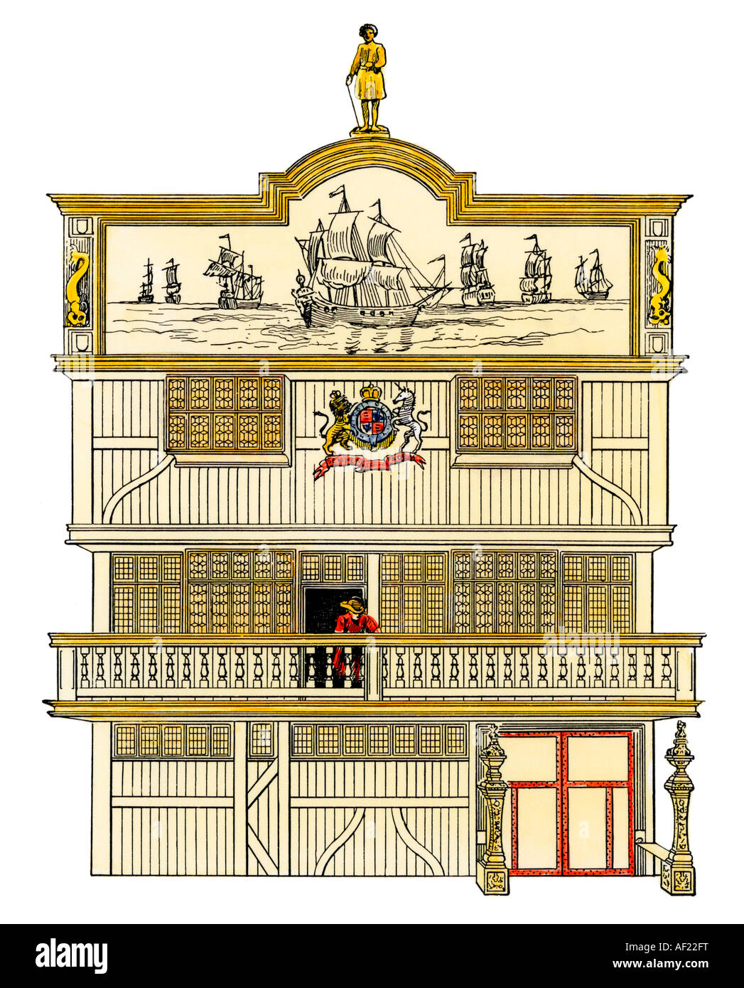 Front of the old British East India House. Hand-colored woodcut - Stock Image
